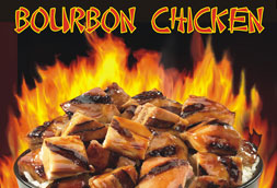 Bourbon chicken flame fire